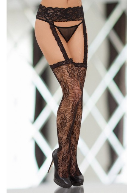 Чулки с поясом Stockings 6280 - black S-L